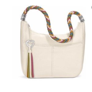 Brighton Barbados hobo purse leather pearl braided